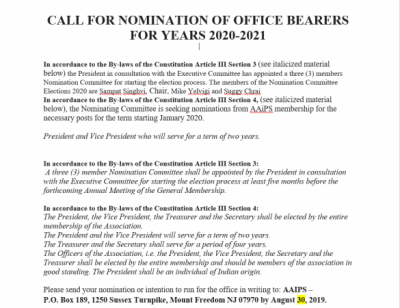 AAiPS CALL FOR NOMINATION OF OFFICE BEARERS FOR YEARS 2020 2021