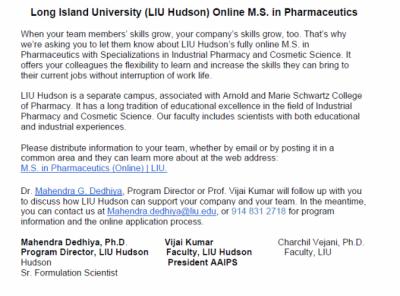 LIU Hudson ONLINE M.S. Degree in Pharmaceutics Program